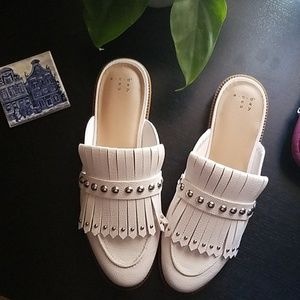 White backless mules